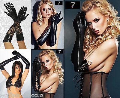 Sexy lange Wetlook Handschuhe Leder-Look Zip Schnürung GoGo Club Gothic schwarz
