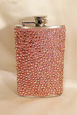 BLING STAINLESS STEEL FLASK W/ BRONZE GLITTER & BRONZE RHINESTONES WRAP 5 OZ