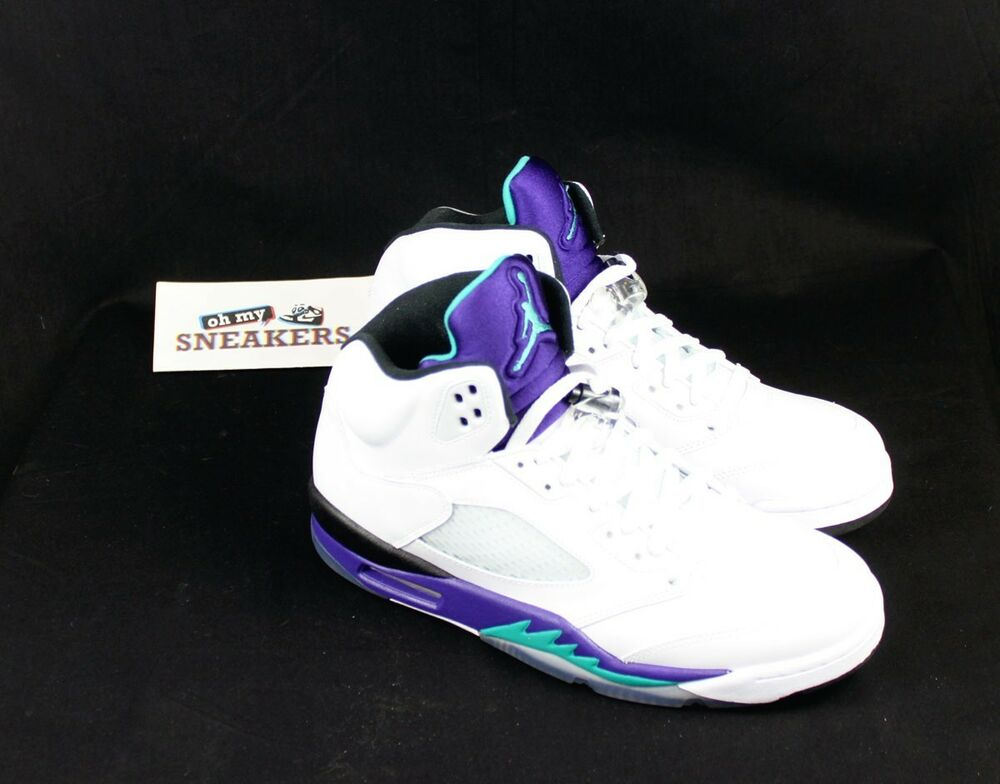 NIKE AIR JORDAN 5 RETRO GRAPE DS US10 / 44 blanc noir firerougebel air laney
