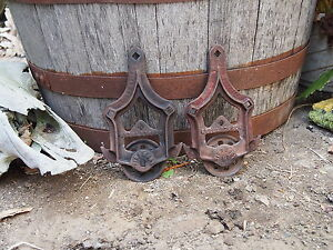 2 Antique Louden Rustic Iron Barn Door Trolley Track