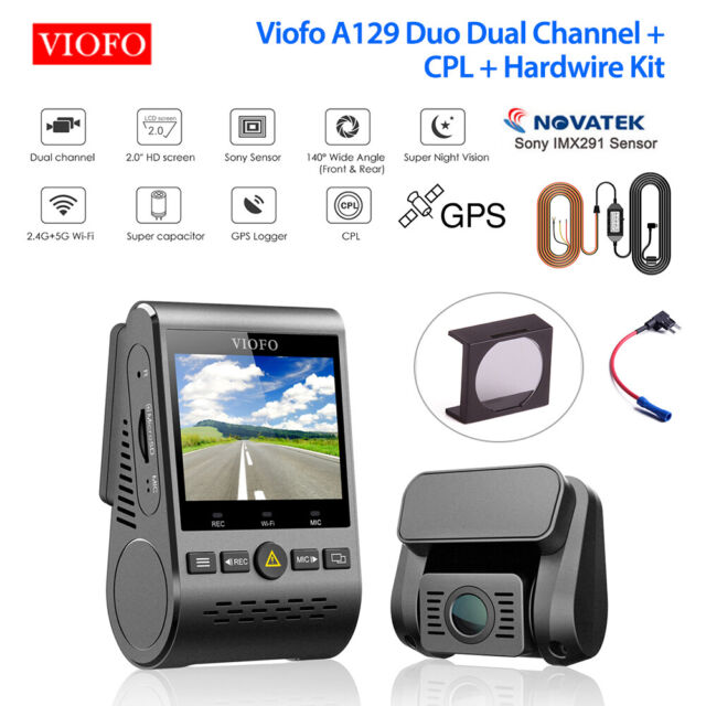 Viofo A129 Duo Front & Rear Wifi GPS Dash Camera + CPL + HK3 ACC Hardwire + Fuse