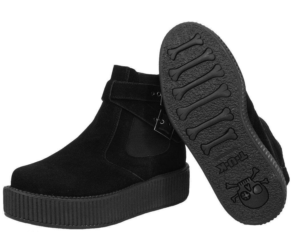 T.U.K. Viva Mondo Hi Sole Chelsea Boot Black Black Black Cracked Suede Ladies UK6 EU39 546d4a