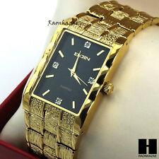 Lab Diamond Gold tone Bling Luxury Elgin Rectangle Dress Bracelet Watch GW129G