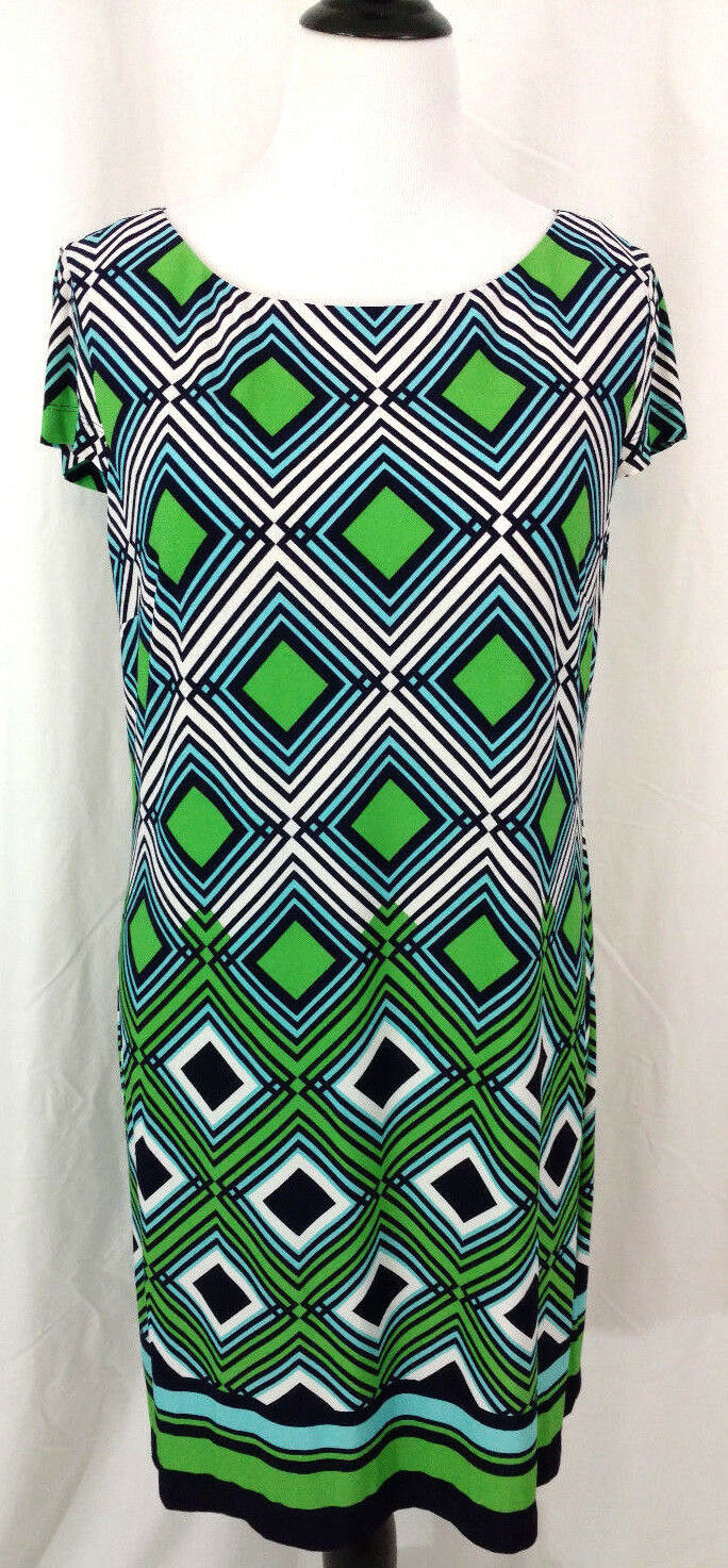 Dress Jessica Howard Womens Sz XL bluee Green White Chevron Straight Sheath