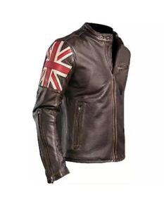 Men-Motorcycle-Biker-Vintage-Union-Jack-UK-FLAG-Cafe-Racer-Real-Leather-Jacket