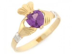 10k-or-14k-2-Tone-Gold-Claddagh-Simulated-Alexandriete-June-Birthstone-Ring