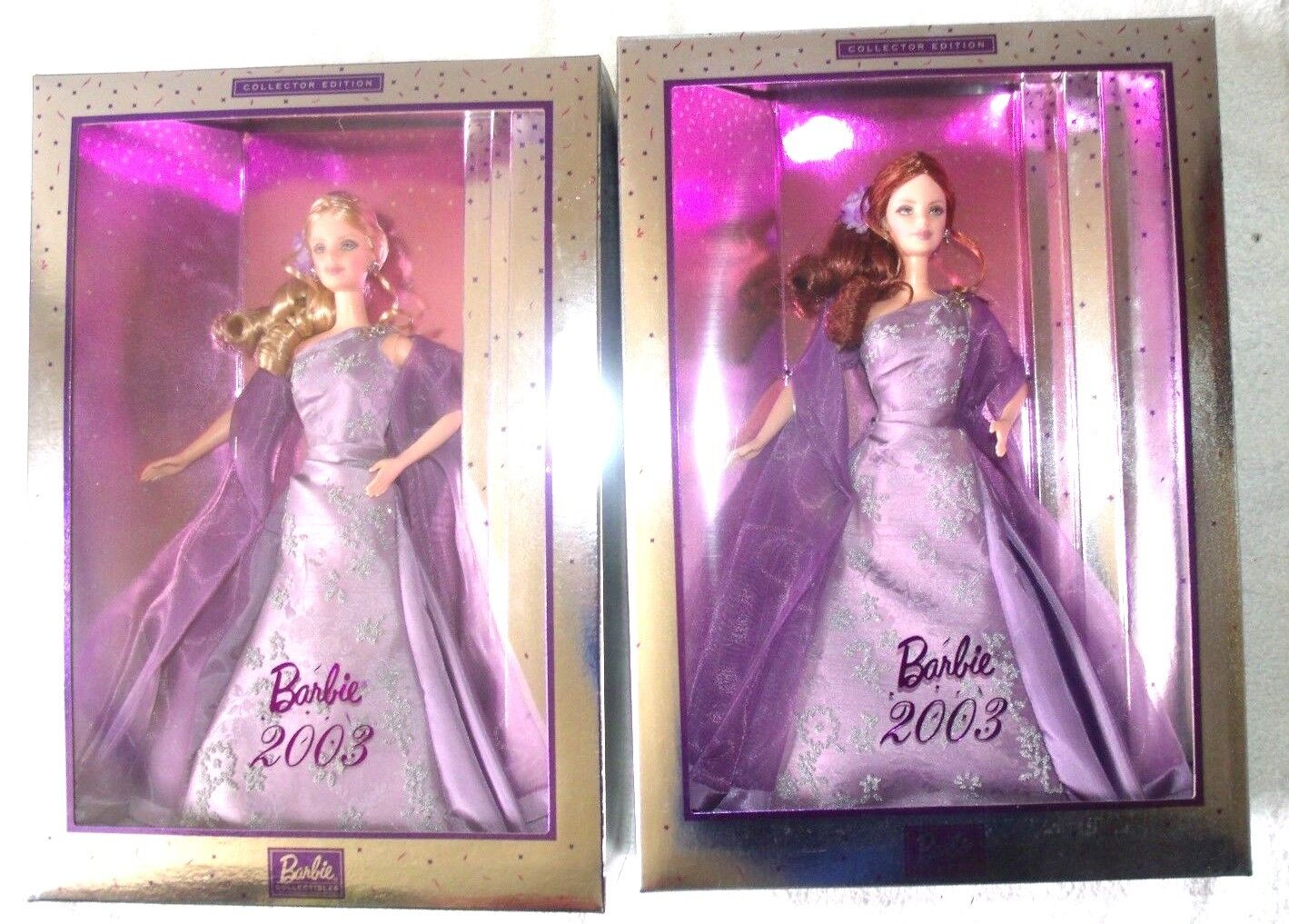 Lote de 2 búsqueda del tesoro pelirroja Lavanda Barbie 2003 colector serie & Rubia