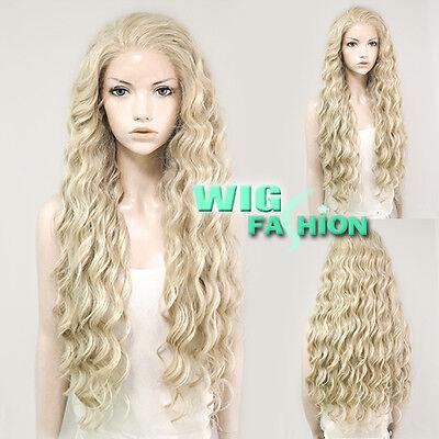 "28"" Long Curly Light Blonde Lace Front Kanekalon Hair Wig"