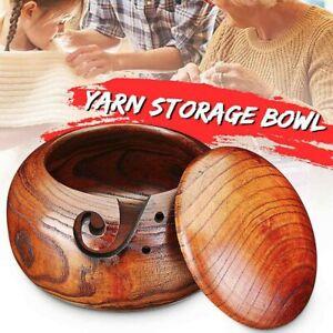 Wooden-Yarn-Bowl-Wood-Knitting-Crochet-Yarn-Wool-Tool-Holder-Storage-Organizer