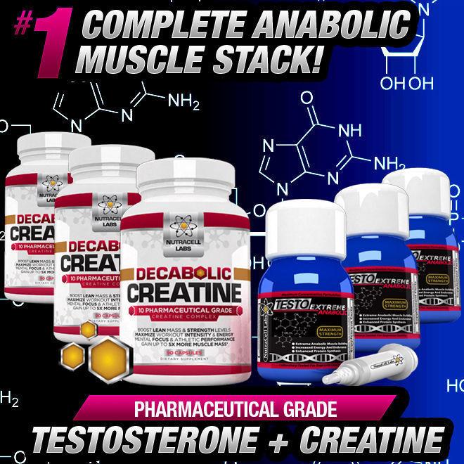 Ciclo de 3 meses Testo Anabólico + decabolic Creatina-más fuerte Sin Esteroides Alt + +
