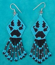 """WOLF PAW"" NATIVE AMERICAN INDIAN BEADED EARRINGS"