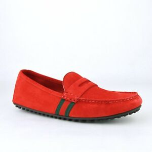 Details about New Gucci Men\u0027s Red Suede Driver Loafer Shoes GRG Web Detail  407411 6460