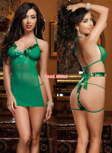 537768c6a Image is loading Women-Lingerie-Sexy-Flash-Green-Babydoll-Chemise-Nightgown-