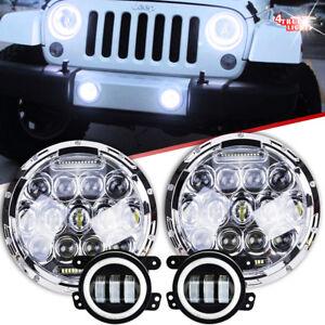 07-17-for-Jeep-Wrangler-JK-Halo-LED-Headlight-75W-Chrome-Halo-Fog-Light-Combo