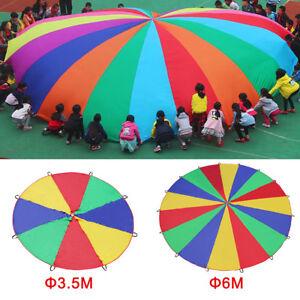 8 Handles 2m Kids Children Sports Development Play Rainbow Umbrella Parachute Toys Outdoor Teamwork Game Oxford Parachute Toy Reasonable Price Home
