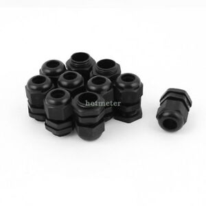 10Pcs M18 x 1.5 Black Plastic Waterproof Cable Glands Connectors 26mm x 35mm 78g