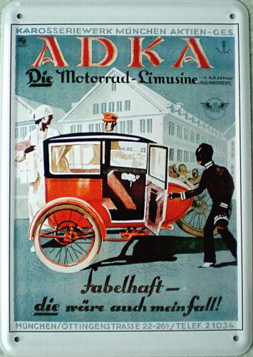Blechpostkarte ADKA 10 x 14,5 cm die Motorrad Limousine