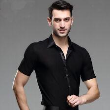 New Men Ballroom Modern Salsa Tango Samba Mens Latin Rhythm Short Sleeve Shirts