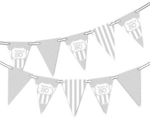 Happy 30th Birthday Polka Dot Vintage Argent Motif Bunting Bannière 12 drapeaux