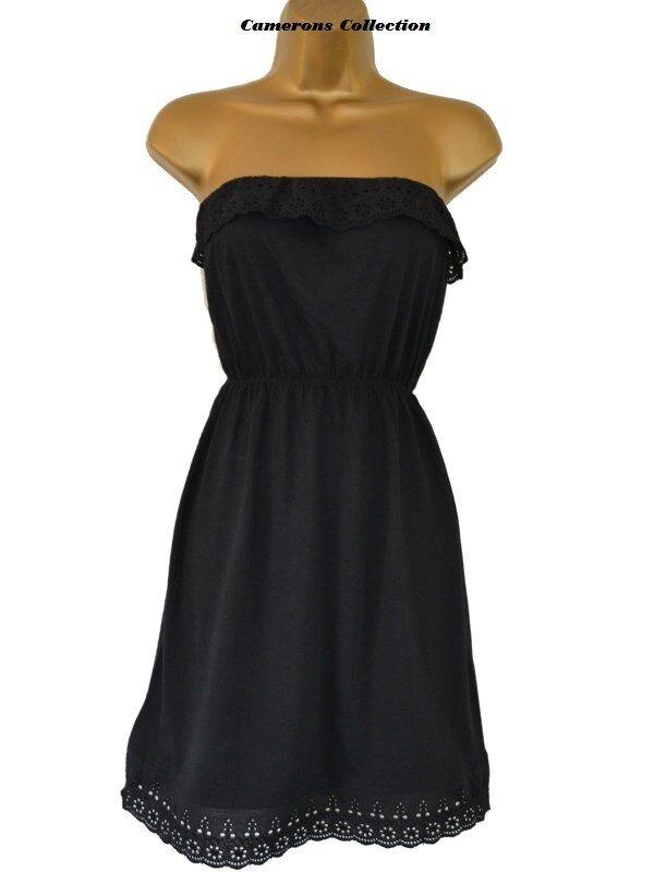 Femme/ados noir sans bretelles cover-up robe de plage plage de 6 8 10 12 14 16 18 20 22 3e9507