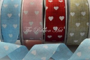 "1/"" 25mm wide white hearts GROSGRAIN RIBBON PRINT x 10 metres vintage craft"