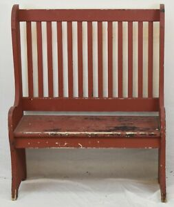 NEW-ENGLAND-PRIMITIVE-DEACON-BENCH-IN-RED-PAINT
