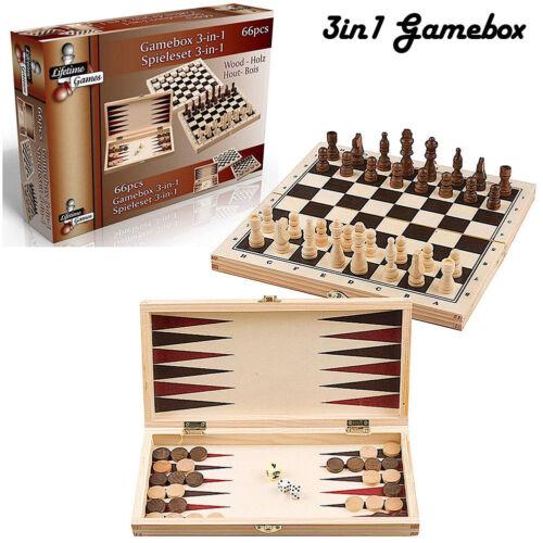 Dama Scacchi e Backgammon Gioco Box in Legno 3 in 1 Giochi Di Societa' Scatola