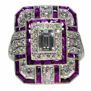 Bague-Ring-Femme-Carre-Pierre-Saphir-Diamants-Violet-Modele-61