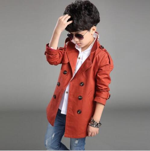 Children/'s Autumn New Long-sleeve Lapel Stylish Boys Trench Coat Cotton Comfort