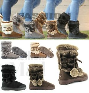 4fd1ebde5 Ella womens ladies girls ankle flat faux fur lined boots warm winter ...