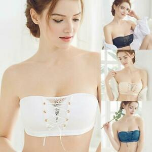Antideslizante con cordón de mujer con encaje sin breteles Sujetador  invisible push up sin espalda | eBay