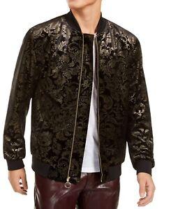INC-Mens-Jackets-Black-Size-XL-Velvet-Damask-Printed-Full-Zip-Bomber-129-238