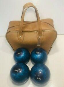 Vintage-1980-039-s-Candlepin-Bowling-Balls-Set-of-4-Blue-Swirl-w-Bag