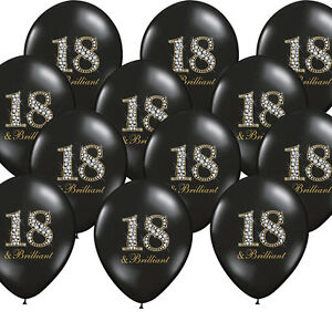 18 geburtstag luftballons schwarz partydekoration deko 18. Black Bedroom Furniture Sets. Home Design Ideas