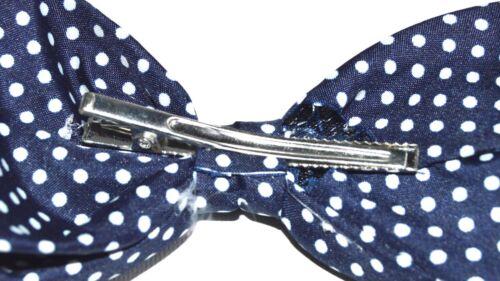 Nouveau 12 cm bleu marine pois tacheté Bow Beak Clip Fashion
