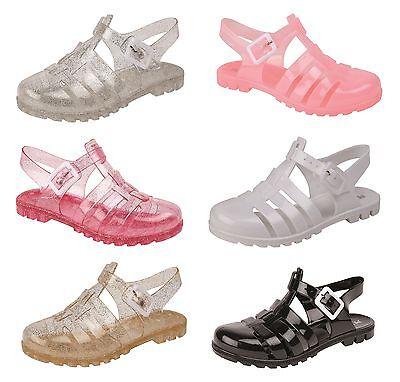 Las Niñas / niños Retro Jelly Zapatos / Sandalias / Playa Zapatos ~ Reino Unido 4 - 2