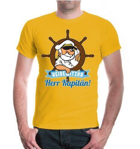 Herr Kapitän Karneval Fasching Funshirt Herren Kurzarm T-Shirt Heidewitzka