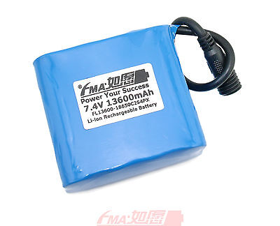 Panasonic NCR18650B 7.4V 13.6Ah Protected Li-ion battery to Bike Light 2S4PXM US