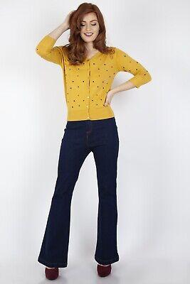 VOODOO VIXEN CAA3105 Gemma Chevron Cardigan in Mustard Cardi Top UK6-16 New