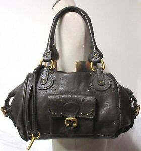 e13def276df Image is loading CHLOE-PADDINGTON-BROWN-TEXTURED-LEATHER-FRONT-POCKET- SATCHEL-