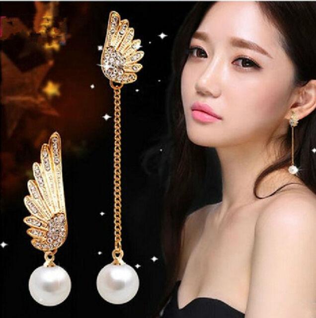 New Fashion Women Elegant Wings Rhinestone Ear Stud Gold Dangle Earrings Jewelry