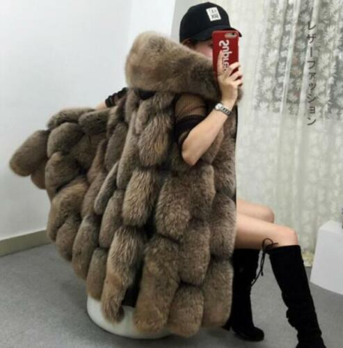Womens Slim Luxury  Long Vest Women Waistcoat New Jacket Fox Fur Coat Overcoat