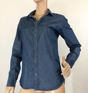TED-BAKER-LONDON-MENS-SIZE-2-S-NAVY-amp-WHITE-SPOTTED-SHIRT