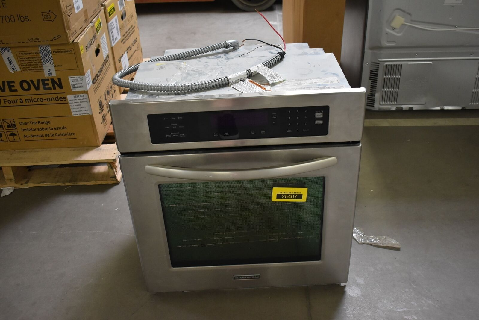 """Micro Onde Au Dessus Du Four kitchenaid kebs177sss 27"""" stainless single electric wall oven nob #35407 hrt"""