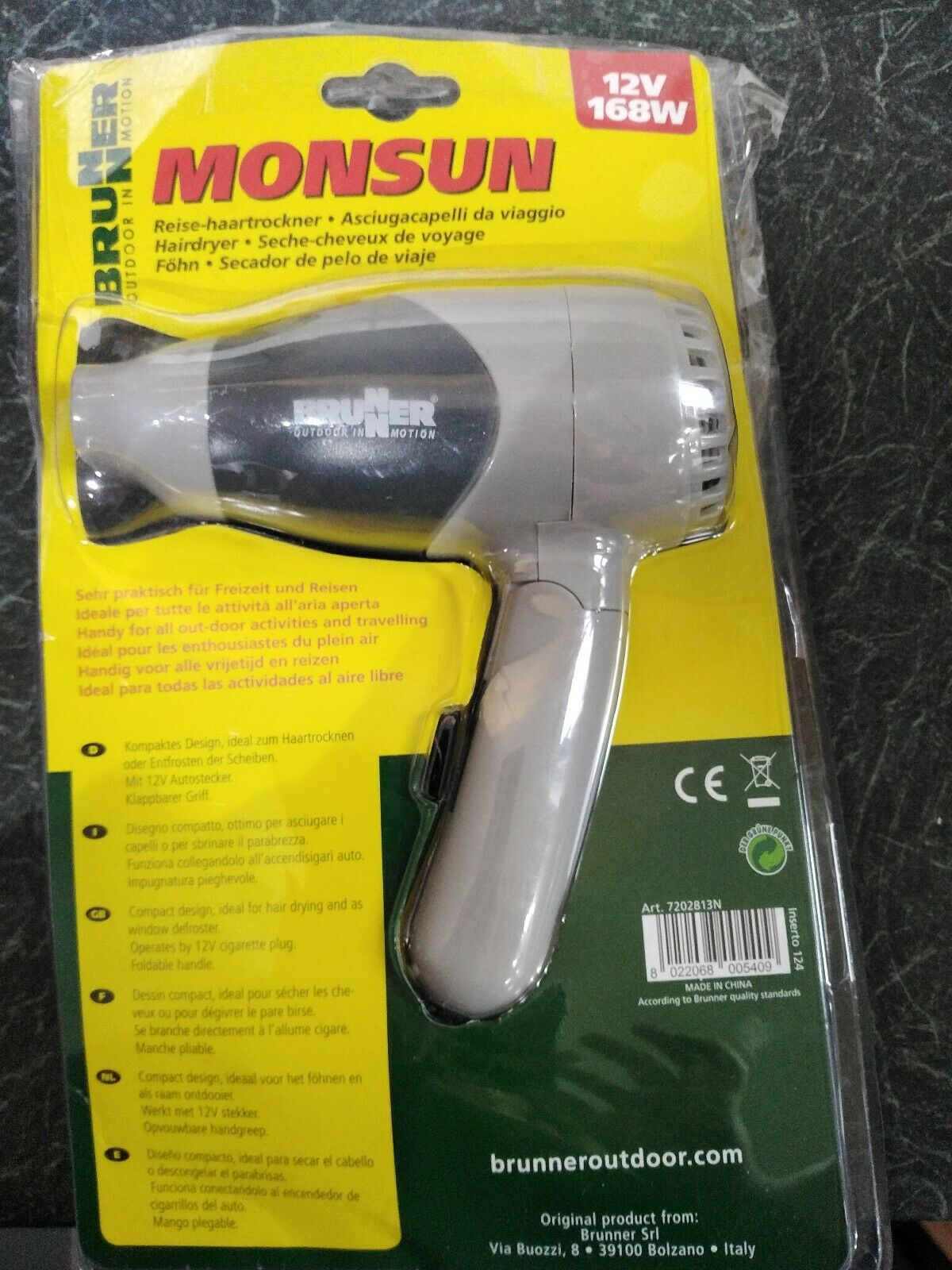 Brunner Travel Hair Dryer Monsun 12v
