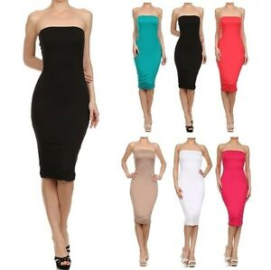 3529cc9a2d2 Image is loading SEXY-STRAPLESS-TUBE-BODYCON-SLIM-FITTED-PENCIL-MIDI-