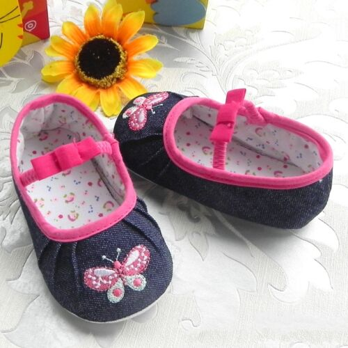 NEW Baby Girls Butterfly Denim Pre-walkers Shoes 6-12-18 months