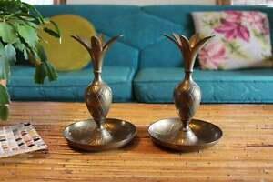 Pair-of-Vintage-Brass-Pineapple-Candleholders-Brass-Boho-Candlestick-Holders