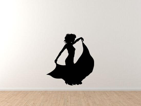 Contour Silhouette- Dancing Woman Girl Version 4 Shadow - Vinyl Wall Decal
