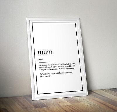 INSPIRATIONAL MOTIVATIONAL MOTHER MUM QUOTE..A4 POSTER PRINT DECOR GIFT